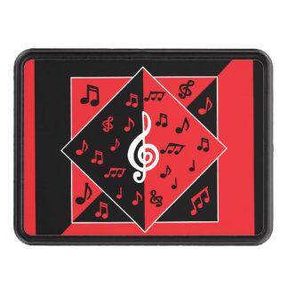 Stylish Art Deco Music Notes Red Black White Tow Hitch Covers