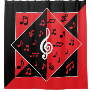 stylish art deco music theme red black white shower curtain - Musical Shower Curtains