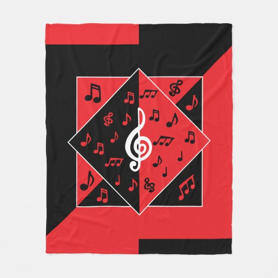 Stylish Art deco style music design Fleece Blanket
