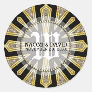 Stylish ArtDeco Gold Monogram Wedding Sticker