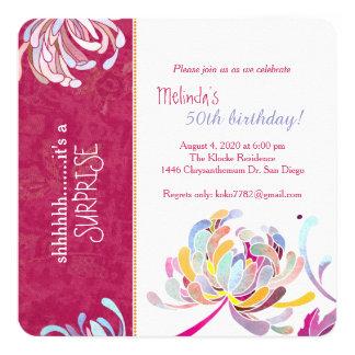 "Stylish Asian Mum Hot Pink Surprise Birthday Party 5.25"" Square Invitation Card"