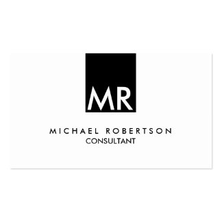 Stylish Attractive Monogram Black White Double-Sided Standard Business Cards (Pack Of 100)
