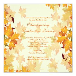 "Stylish Autumn Fall Leaves Thanksgiving Invitation 5.25"" Square Invitation Card"