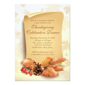 "Stylish Autumn Leaves  Thanksgiving Invitation 5"" X 7"" Invitation Card"