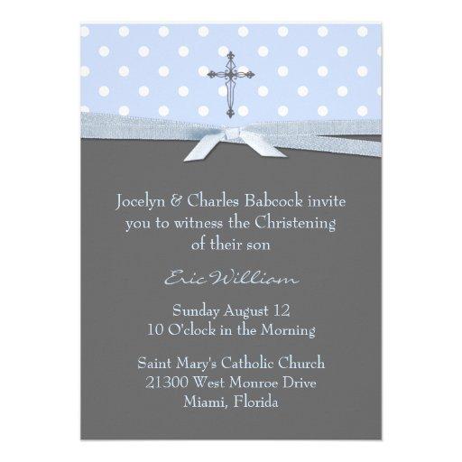 Stylish Baby Boy Christening Invitation