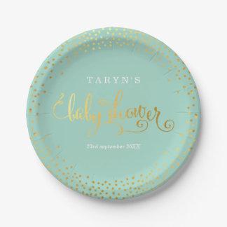 STYLISH BABY SHOWER mini confetti gold mint Paper Plate