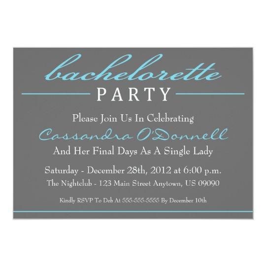 Stylish Bachelorette Party Invitations (Blue)