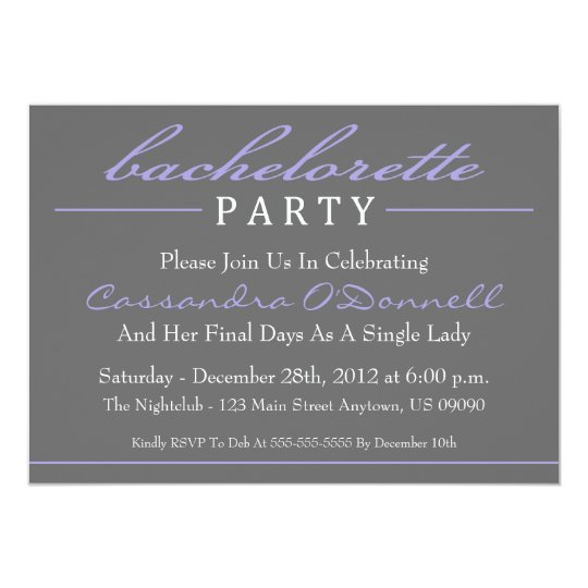 Stylish Bachelorette Party Invitations (Purple)
