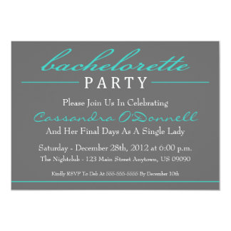 Stylish Bachelorette Party Invitations (Teal)