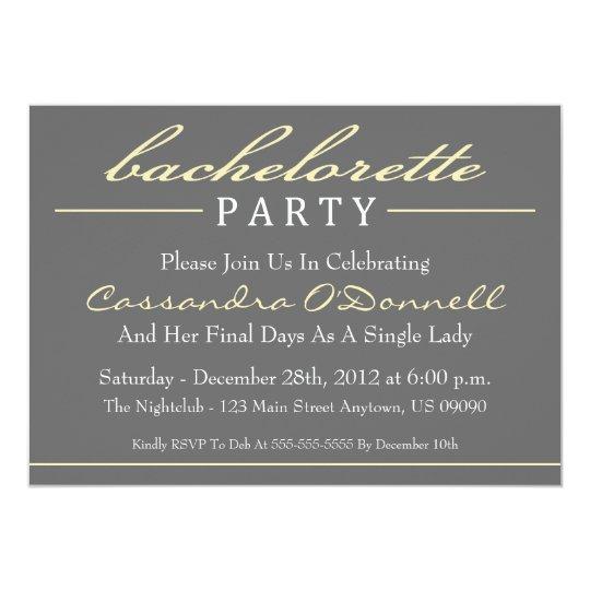 Stylish Bachelorette Party Invitations (Yellow)