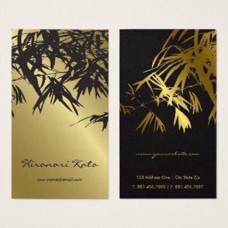 Stylish Bamboo Leaves Gold Black Zen Business Card