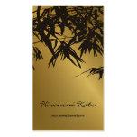 Stylish Bamboo Leaves Gold Black Zen Profile Card
