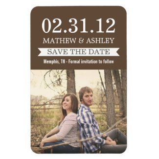 Stylish Banner Brown Save The Date Magnet