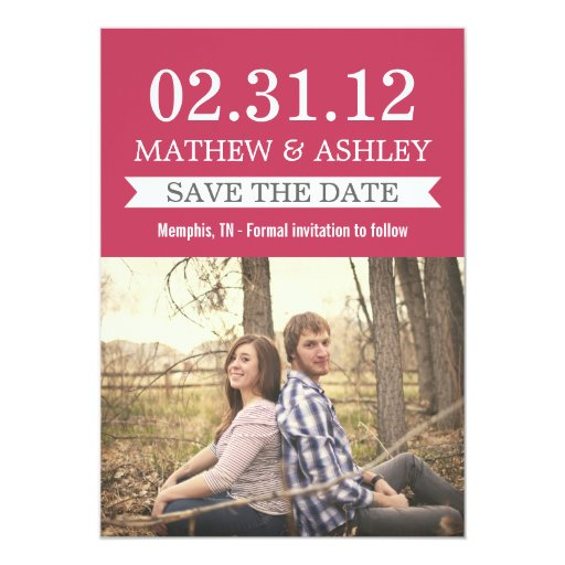 Stylish Banner Pink Save The Date Invites
