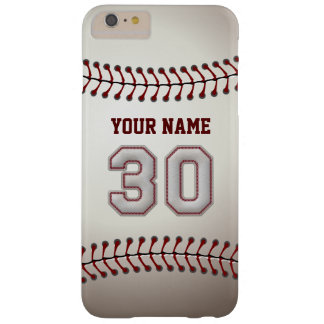 Stylish Baseball Number 30 Custom Name - Unique Barely There iPhone 6 Plus Case