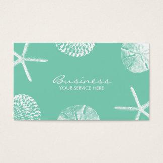 Stylish Beach Theme Seashells Mint Green Business Card