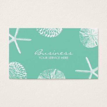 Beach Themed Stylish Beach Theme Seashells Mint Green Business Card