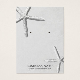 Stylish Beach Theme Starfish Silver Earring Holder Business Card