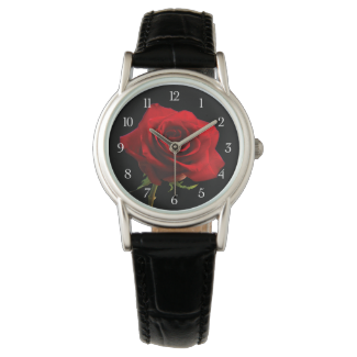 Stylish Beautiful Red Rose Wrist Watches