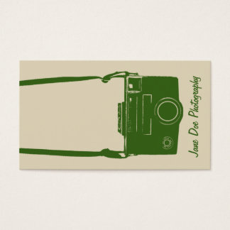 Stylish Beige and Green Retro Film Camera Business Card