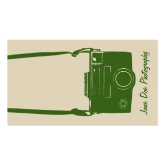 Stylish Beige and Green Retro Film Camera Double-Sided Standard Business Cards (Pack Of 100)