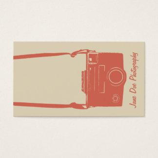 Stylish Beige and Peach Retro Film Camera Business Card