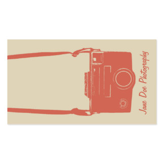Stylish Beige and Peach Retro Film Camera Double-Sided Standard Business Cards (Pack Of 100)