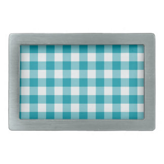 Stylish Belt Buckle, Teal Check Gingham Pattern