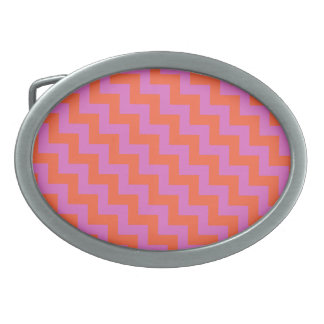 Stylish Belt Buckle with Pink and Orange Zigzags