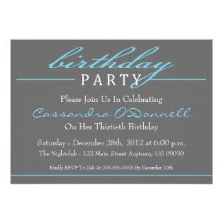 Stylish Birthday Party Invitations (Blue)