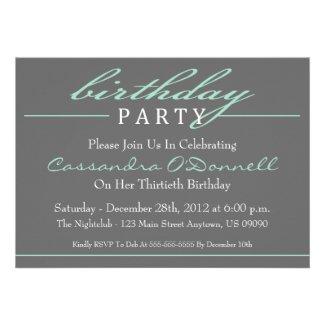 Stylish Birthday Party Invitations (Green)