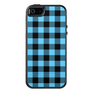 Stylish Black and Bright Blue Checked Plaid OtterBox iPhone 5/5s/SE Case