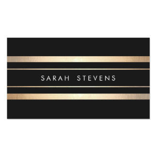 Stylish Black and Faux Foil Gold Striped Modern Business Card Templates