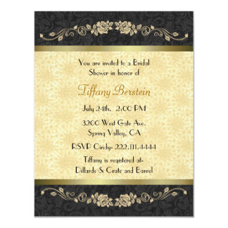 "Stylish Black and Gold Bridal Shower 4.25"" X 5.5"" Invitation Card"
