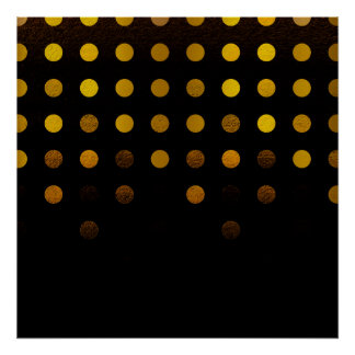 Stylish Black and Gold Cascading Polka Dots Poster