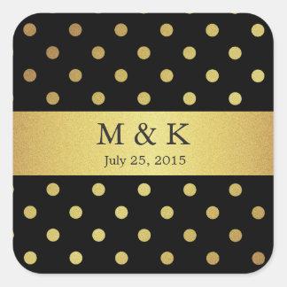 Stylish Black and Gold Polka Dots Monogram Square Sticker