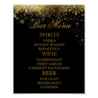 Stylish Black and Gold Snowflakes - Bar Menu Poster