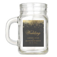 Stylish Black and Gold Snowflakes Mason Jar