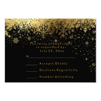 Stylish Black and Gold Snowflakes - RSVP Card
