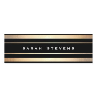 Stylish Black and Gold Striped Modern Professional Double-Sided Mini Business Cards (Pack Of 20)