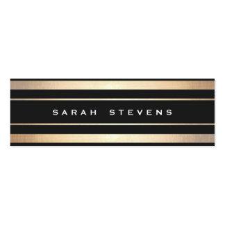 Stylish Black and Gold Striped Modern Professional Mini Business Card