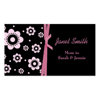 Stylish Black and Pink Floral Mommy Card Double-Sided Standard Business Cards (Pack Of 100)