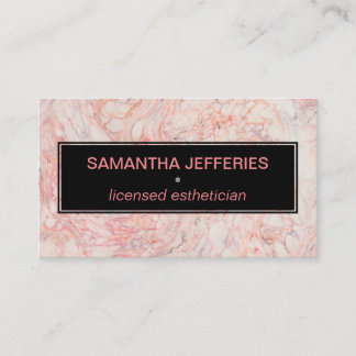 Stylish Black and Pink Marble Feminine Modern Business Card