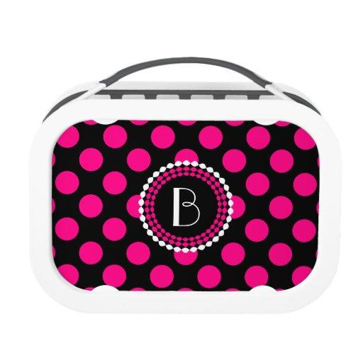 Stylish Black And Pink Polka Dots Pattern Yubo Lunch Boxes