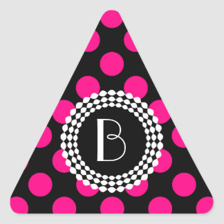 Stylish Black and Pink Polka Dots Pattern Triangle Sticker