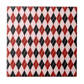 Stylish Black and Red Argyle Plaid Pattern Ceramic Tile