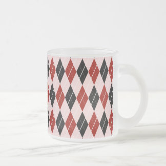 Stylish Black and Red Argyle Plaid Pattern Frosted Glass Coffee Mug