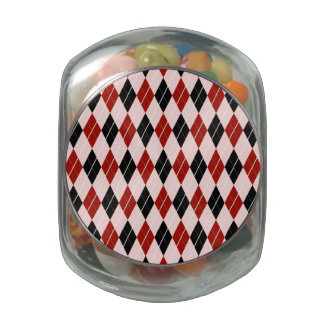 Stylish Black and Red Argyle Plaid Pattern Jelly Belly Candy Jar