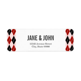 Stylish Black and Red Argyle Plaid Pattern Label