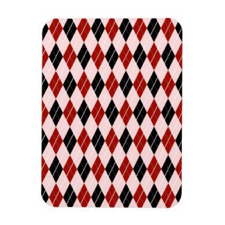 Stylish Black and Red Argyle Plaid Pattern Rectangular Photo Magnet